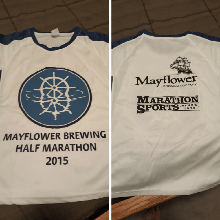 Race shirt: Front on the left, back on the right.
