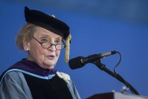 Albright speaking at Tufts University in 2015. Photo is from the Boston Globe.