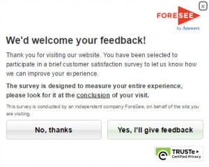 The typical request to participate in a ForeSee survey.