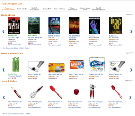 Amazon's recommendations for me, verging on the creepy in the kitchen section.
