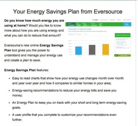 DTC email touting the benefits of enrolling in my Energy Savings Plan from Eversource