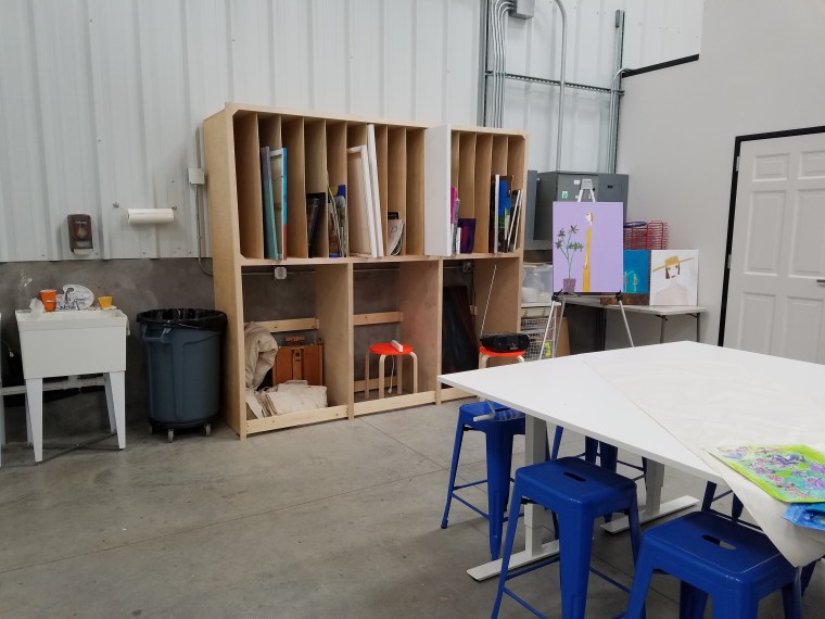 The art studio where residents can work on drawing and painting. Classes are also offered here for the public, and your class tuition funds a resident to attend the same class.