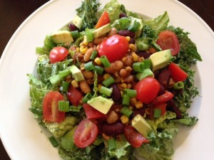 Salad with dressing mixed in