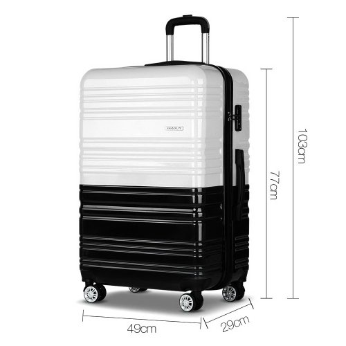 Set of 3 Premium Hard Shell Travel Luggage with TSA Lock Black and White