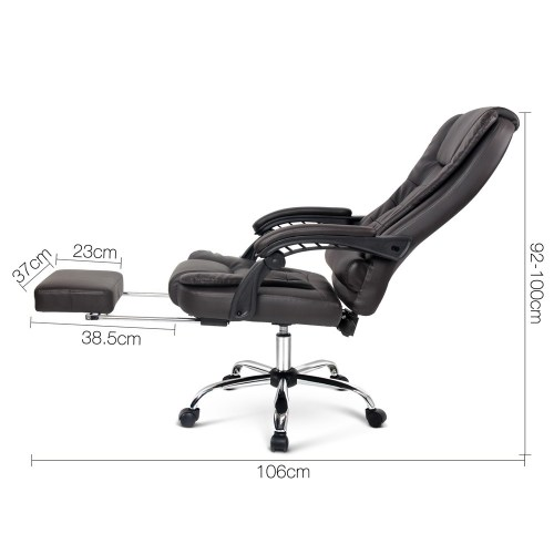 Executive Office Chair with Foot Rest - Brown