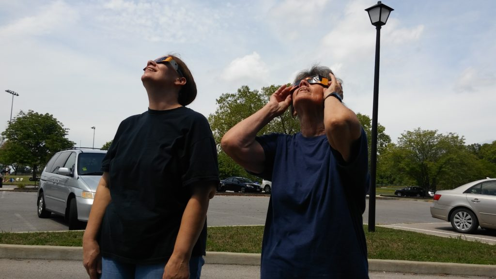 Watching the eclipse.