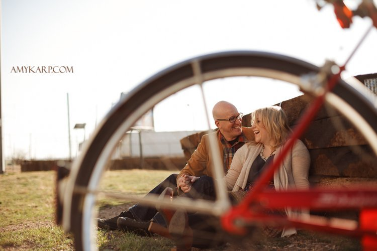 engagement session with bicycles in dallas by wedding photographer amy karp