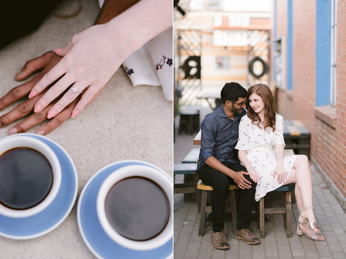 Dallas coffee shop engagement session