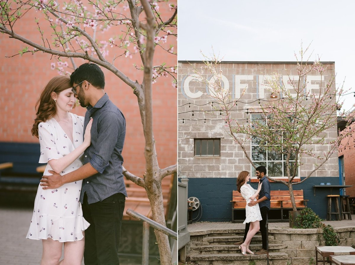 Dallas coffee shop engagement session with Jess and Finny