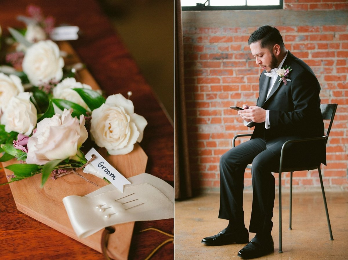 dallas wedding photography groom getting ready at hickory street annex