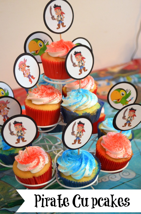 Terrific Pirate Party Cupcakes Jake The Neverland Pirates Funny Birthday Cards Online Elaedamsfinfo