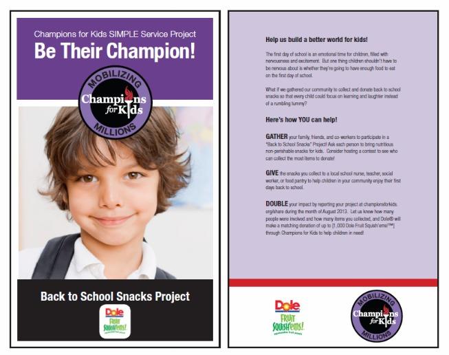 #shop Dole Champions for Kids Simple Service Project