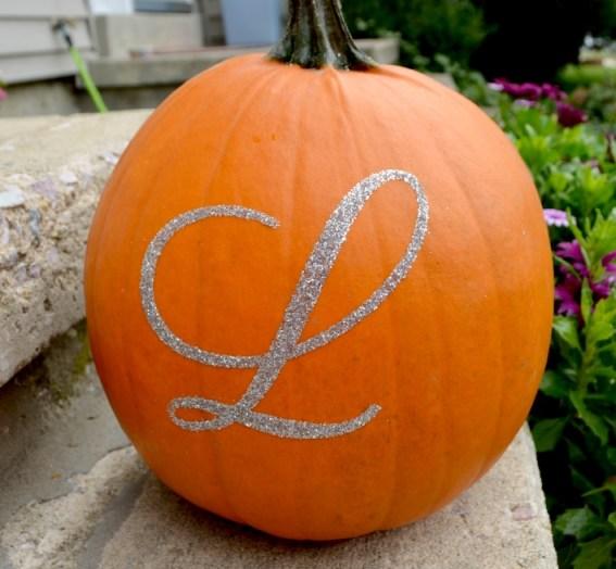 Glittered Monogram Pumpkin