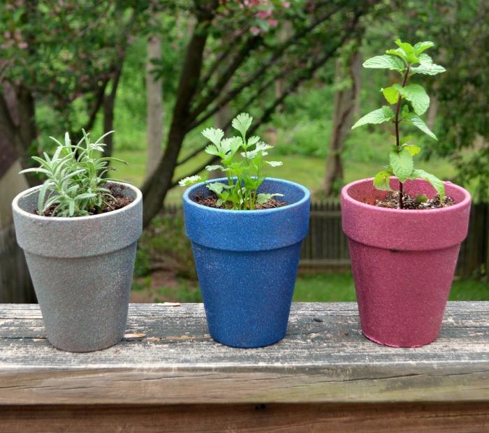 Glitter Flower Pots