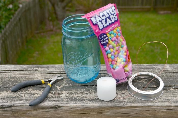 Beaded Mason Jar Lantern