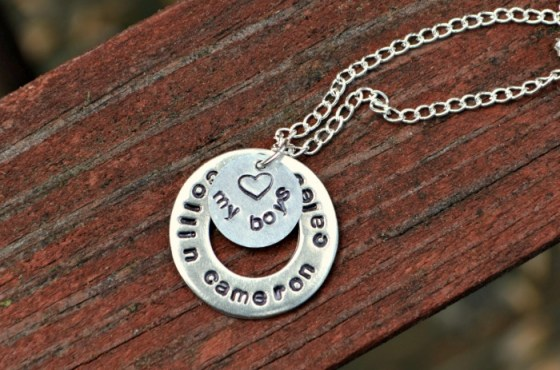 Stamped Washer Necklace