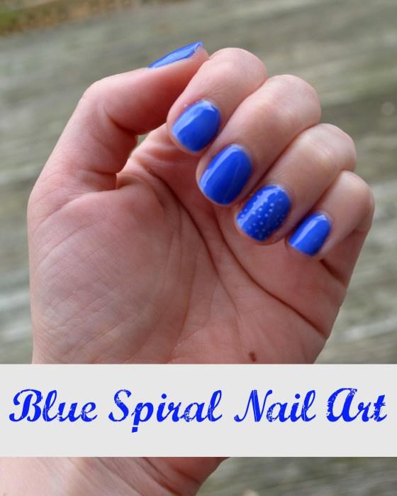 Blue Spiral Nail Art