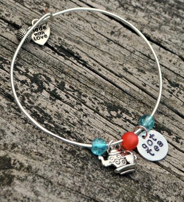 Teapot Charm Bangle Bracelet