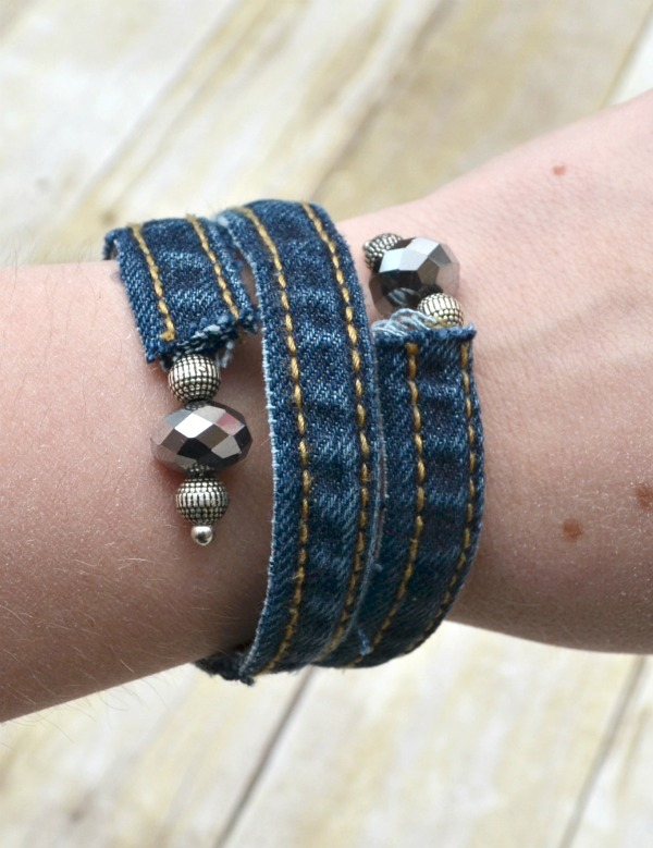 Denim Wrap Bracelet made from old jeans