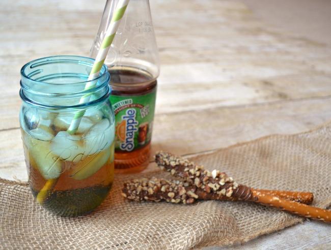 Snapple Straight Up Tea & Nutty Pretzel Logs