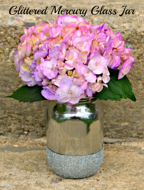 Mercury Glass and Glitter Mason Jar Vase