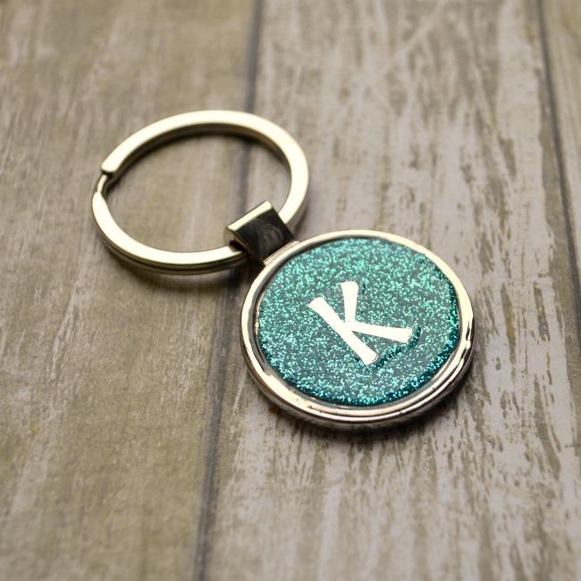 Glittered Monogram Keychain