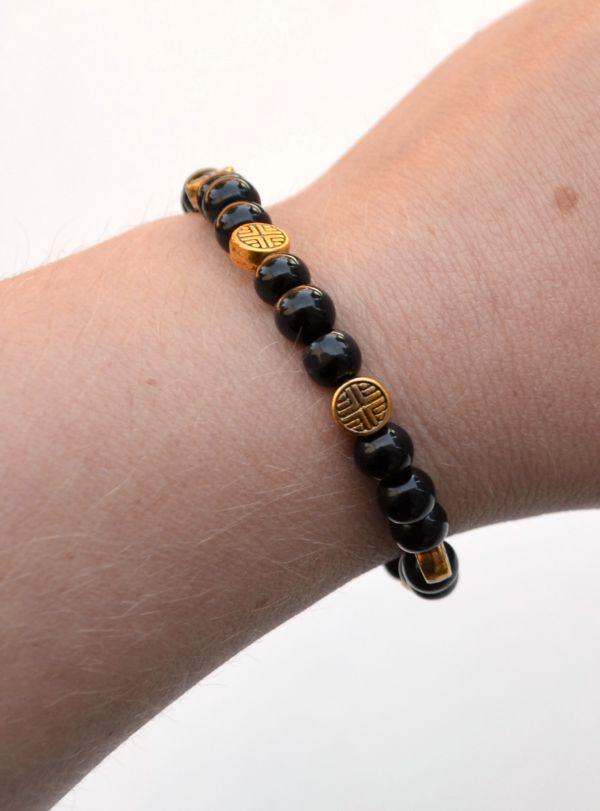 Beaded Bracelet Black and Gold
