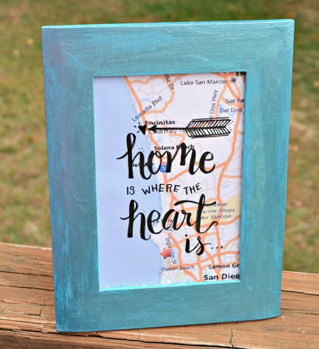 Framed Map Art with Hand Lettering