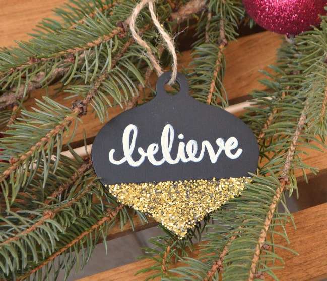 Glitter and Chalkboard Ornament