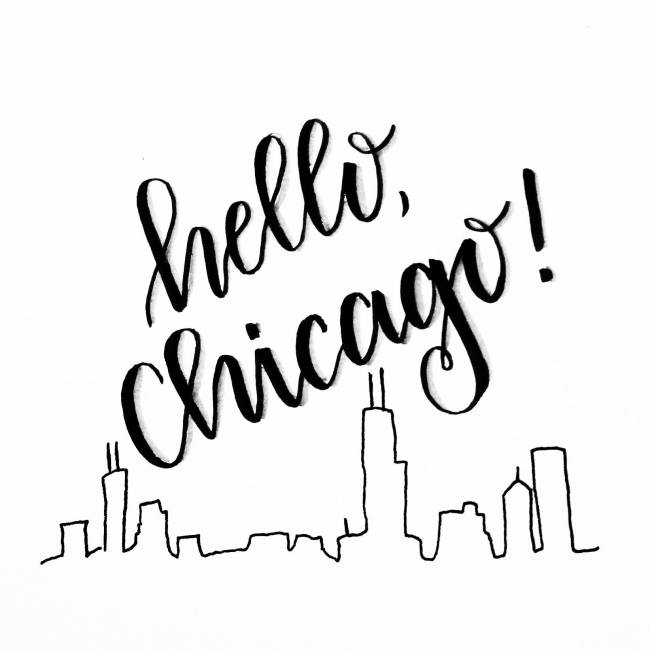 Hello Chicago hand lettering