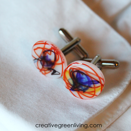 how to make cufflinks - fun shrinky dink craft for kids for father's day