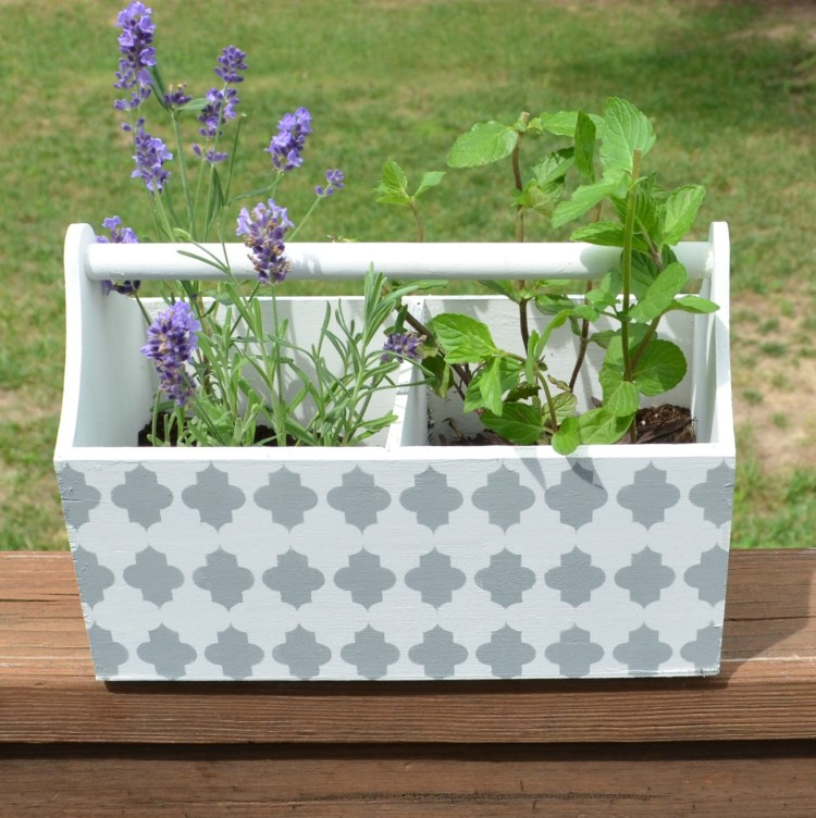 Stenciled Window Box for Herbs