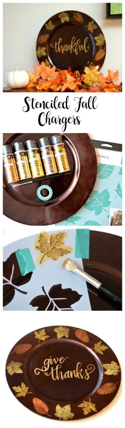 Stenciled Fall Leaf Chargers