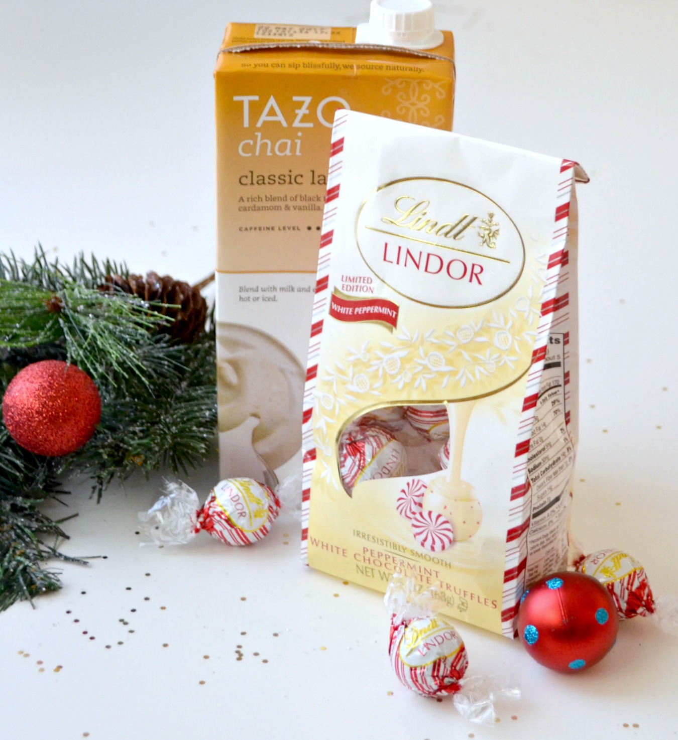 Tazo Chai Classic Latte and Lindt LINDOR Truffles