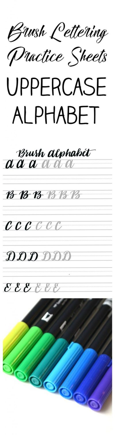 Free Brush Lettering Uppercase Alphabet Practice Sheets