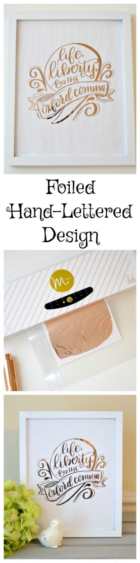 Foiled Hand Lettered Oxford Comma Design