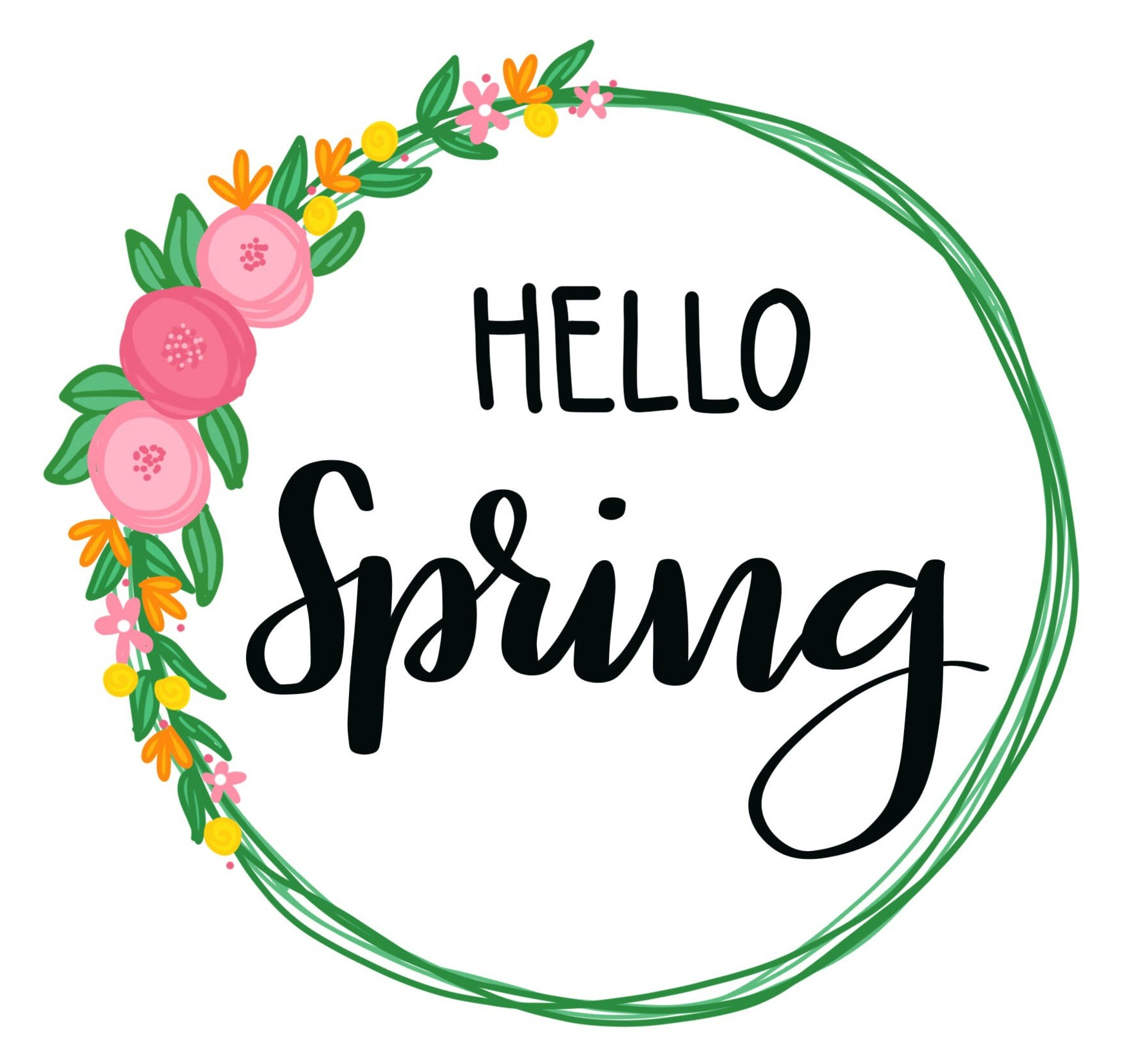 Hello Spring Hand Lettered Printable