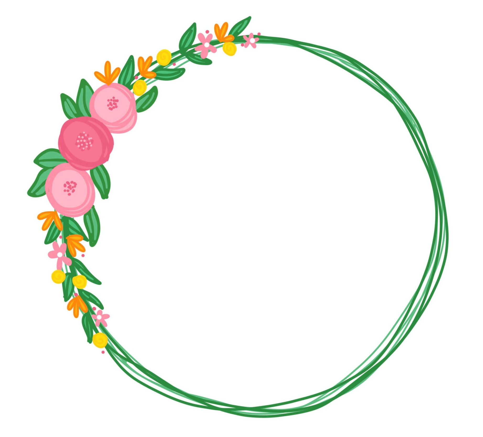 Hand Drawn Floral Wreath