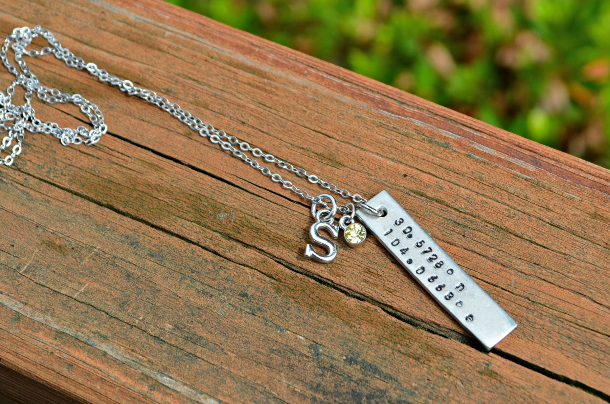 Stamped GPS Coordinates Necklace