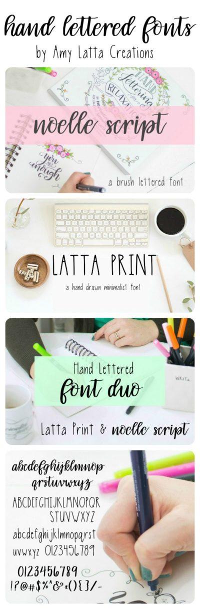 Hand Lettered Fonts: Noelle Script & Latta Print - Amy Latta