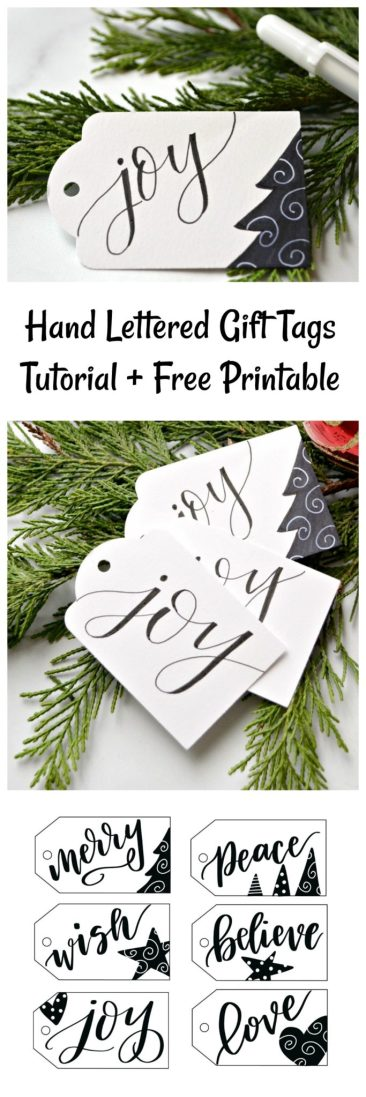 Hand Lettered Gift Tags Tutorial + Free Printable