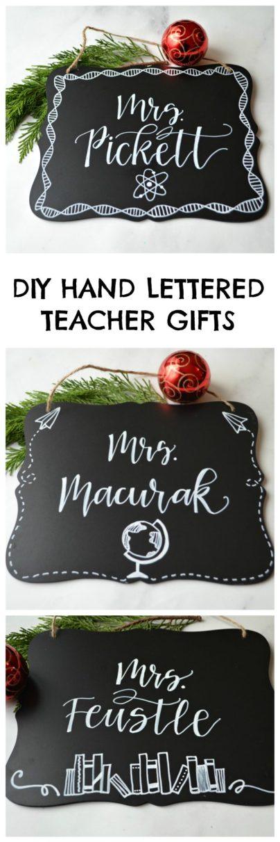 DIY Hand Lettered Teacher Gifts