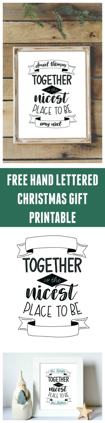 Free Hand Lettered Printable Christmas Gift
