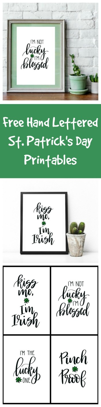 Free Hand Lettered St. Patrick's Day Printables