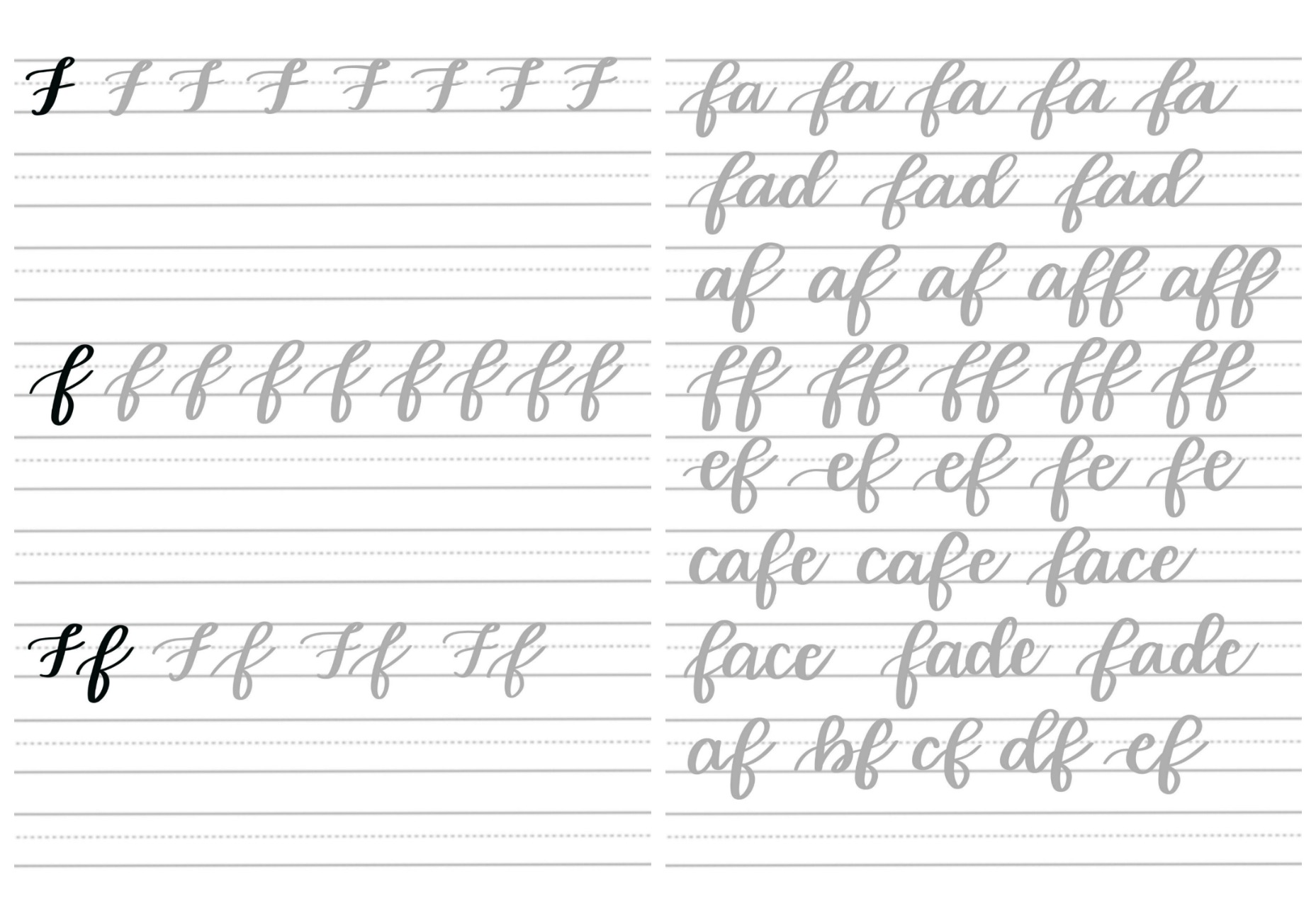 Brush Script F Practice Sheets