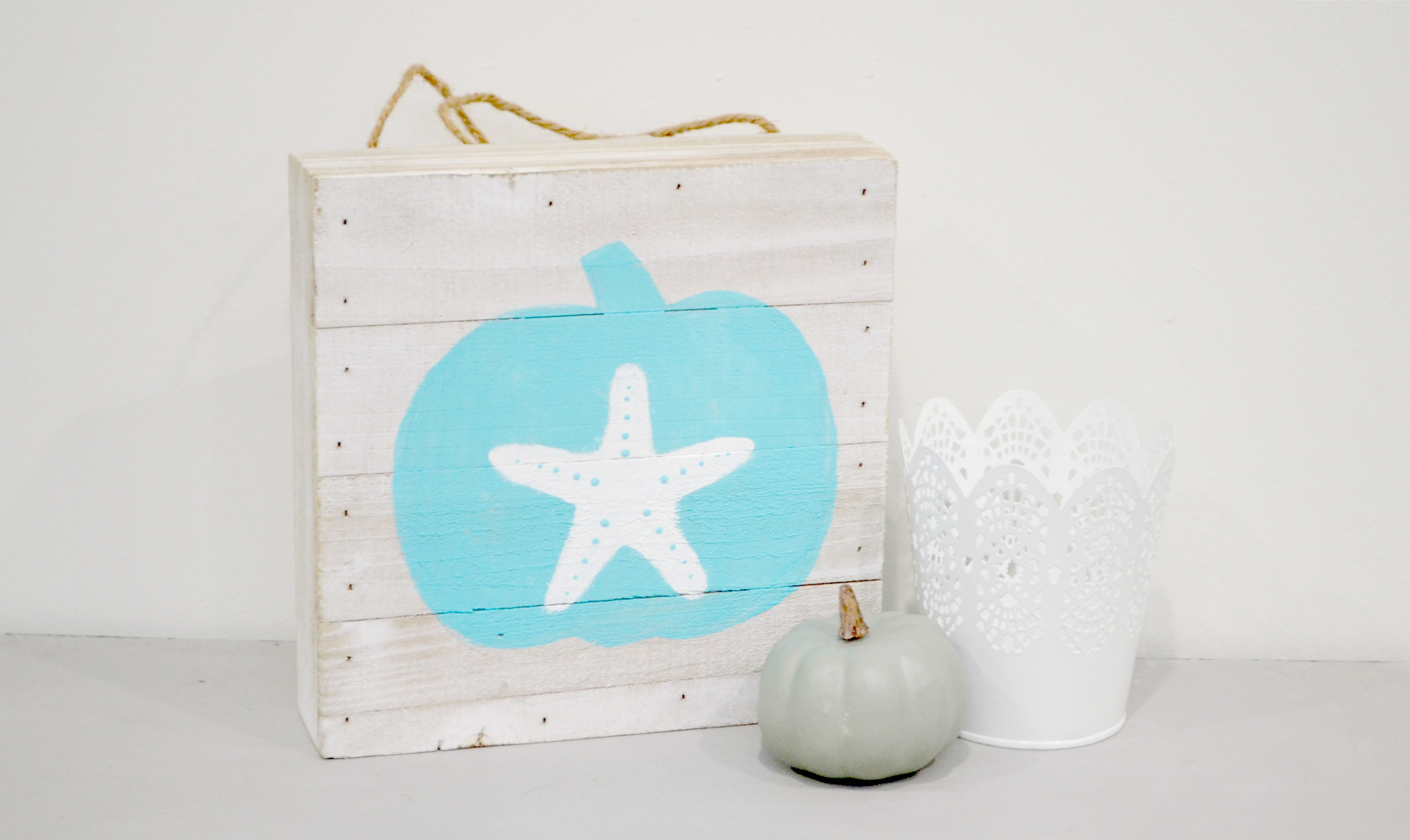 Coastal Fall Decor BEACH THEMED PUMPKIN ART