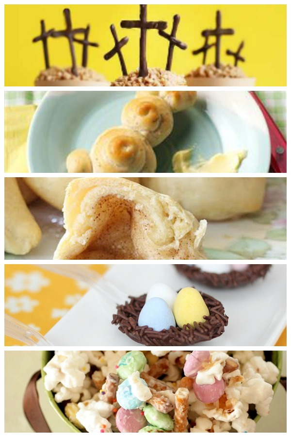 Easter treats-from birdsnests to resurrection rolls. Cute cross cupcakes and bunny rolls. So many fun sweet easter projects.