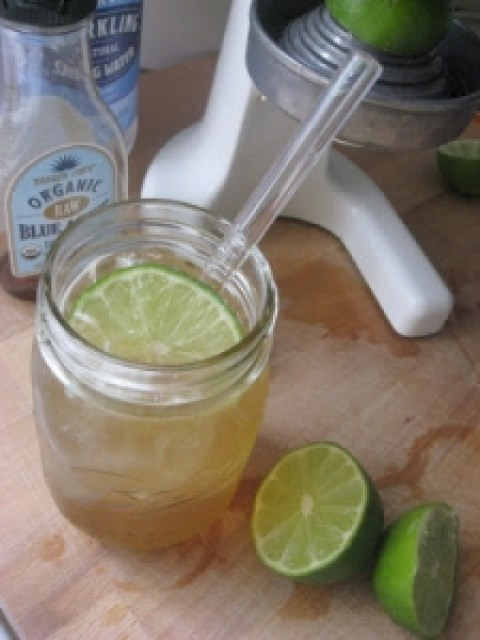 lime and sparkling water