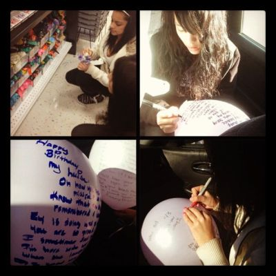 Memories of a loved one with balloon messages