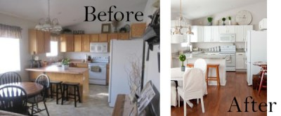 before and after living room and kitchen